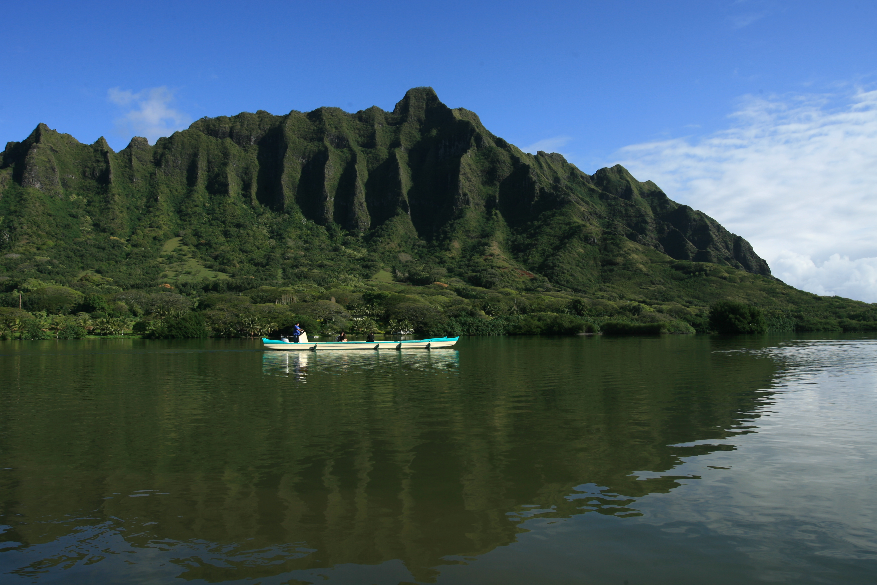 Kualoa Ranch Oahu Hawaii fishpond tour on 800-year old ancient pond