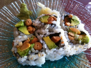 Peanut and Avocado Maki Roll at Rice Restuarant