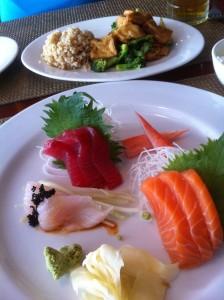 Sashimi lunch at Rice Fusion Sushi Restaurant in Algonquin