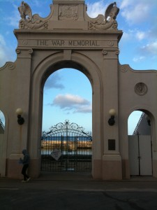 The gate of the Waikiki Natatorium in Honolulu, Hawaii