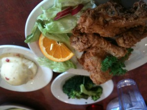 Fried Chicken dinner at Papa G's Elburn, Illinois