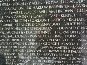 Roger B. Innes , a solder killed in action, on Vietnam Memorial Wall Washington DC