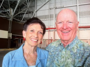 Carole and Jim Hickerson at arrival ceremony Hickam AFB