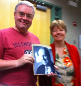 Authors Matt Brauer and April M. Williams with a authographed picture of Bob Newhart