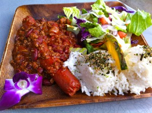 Chili Frank Plate Lunch at Queen's Surf Cafe and Lanai