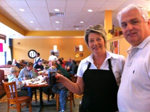 Krisztina and John welcome guests at Rainbow Restaurant and Pancake House