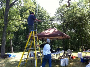 Setting up our 2 meter and 440 antennas on an empty field SUHFARS Field Day 2012 Tower