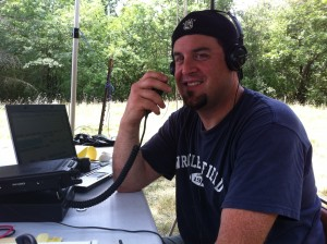Scott KC9TNX calling CQ on 6 meters at SUHFARS Field Day 2012
